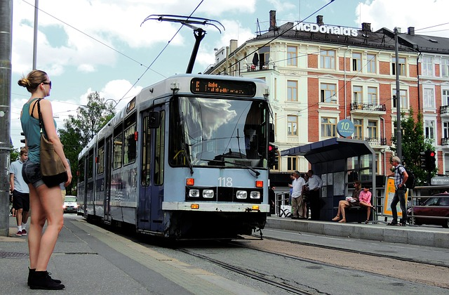 blue tram in oslo