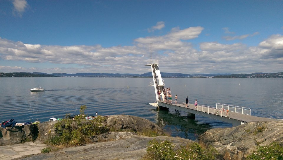 diving tower by the sea in oslo